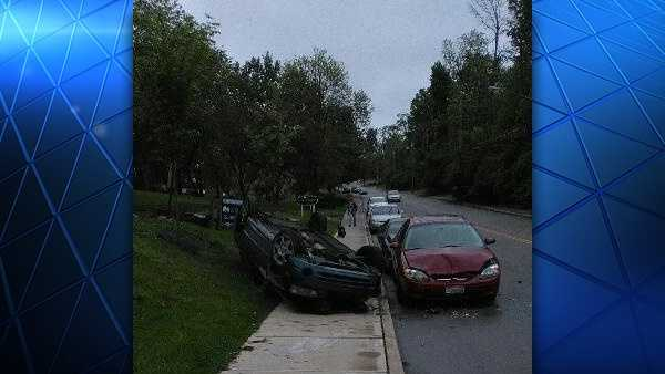 A crash in Avondale left a car on its top Saturday.