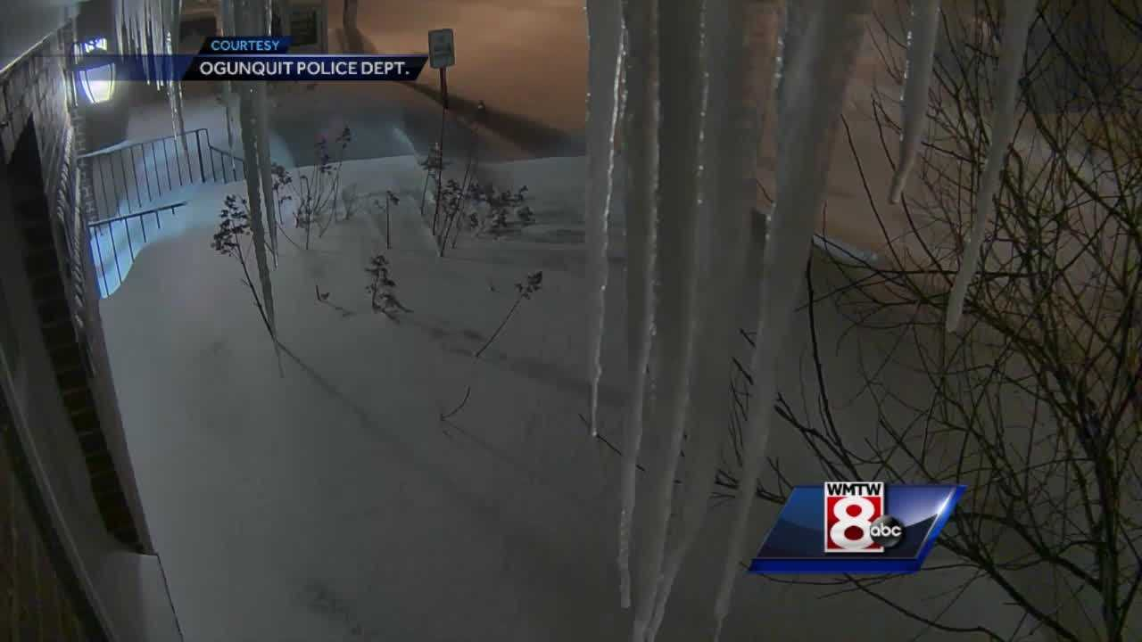 The Ogunquit Police Department shared this video with WMTW News 8. The original was about six hours long and recorded from the Dunaway Center. We have sped the video up so you can see an icicle form in 15 seconds.