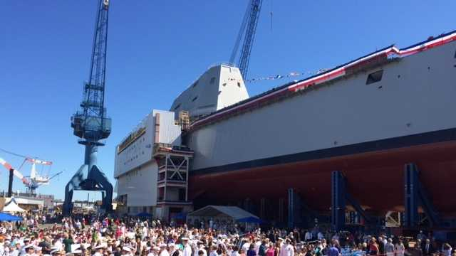 This is the second Zumwalt-class guided missile-destroyer the shipyard has built for the Navy. The DDG 1001 ship is named for Petty Officer 2nd Class (SEAL) Michael Monsoor.