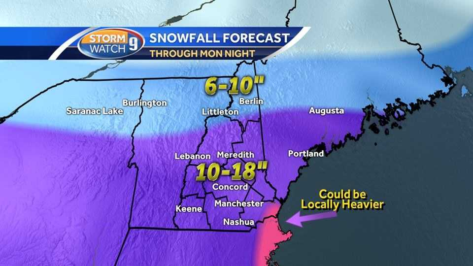 Snow will fall off and on through Monday night in New Hampshire. Check out the latest hour-by-hour forecast maps.