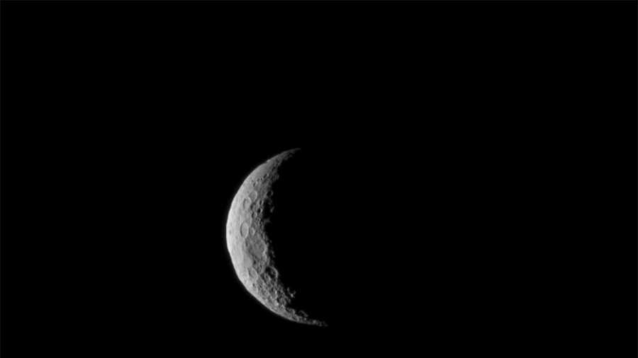 Ceres is seen from NASA's Dawn spacecraft on March 1, just a few days before the mission achieved orbit around the previously unexplored dwarf planet. The image was taken at a distance of about 30,000 miles (about 48,000 kilometers).