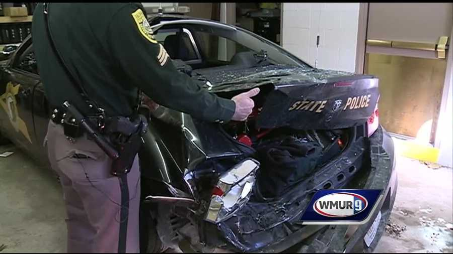 A New Hampshire state trooper is recovering after his cruiser was struck by a tractor-trailer Tuesday night on Interstate 89.