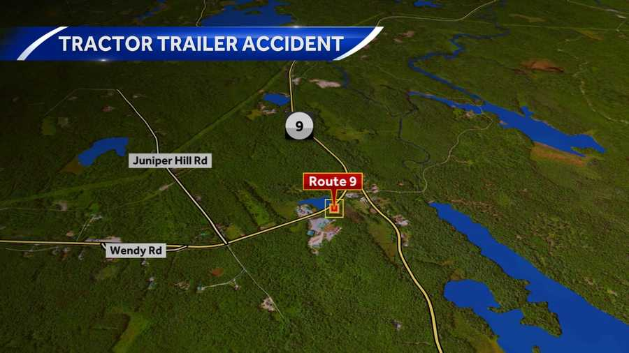 Route 9 in Stoddard is closed after a tractor trailer crashed and took a pole and wires down.