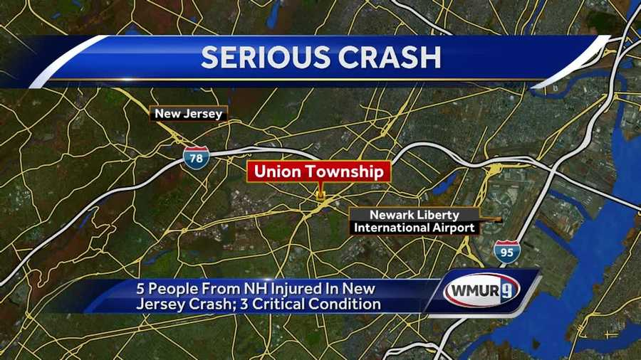Five people from New Hampshire, including two young children, were injured in crash in New Jersey on Monday.