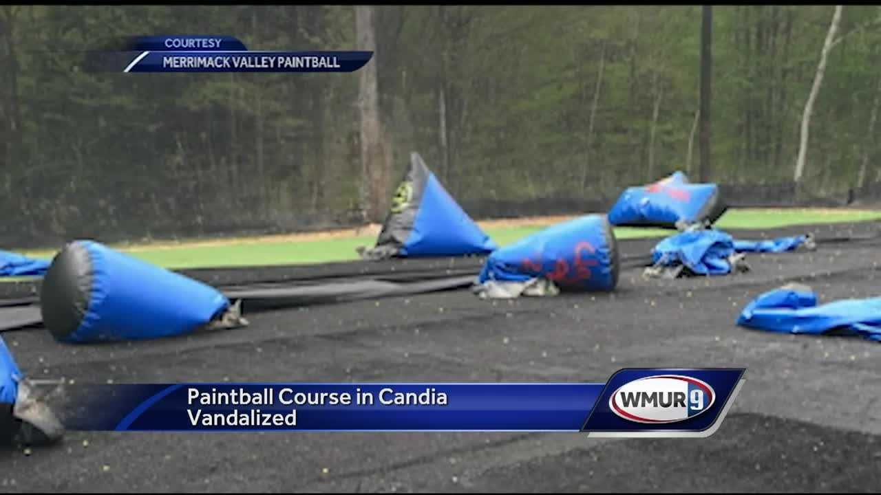 Vandals caused about $5,000 in damage over night at a paintball park in Candia.