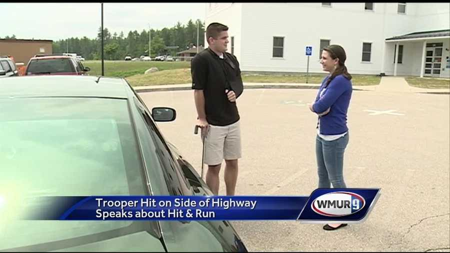 A state trooper who was hit on the side of the highway by a driver accused of taking off after the collision urged drivers Friday to move over when emergency vehicles are on the side of the road.