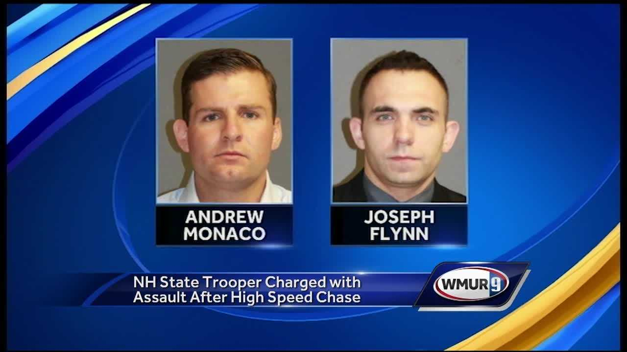 Two state troopers, one from New Hampshire and one from Massachusetts, were arrested and charged with simple assault after they were caught on camera assaulting the suspect of a police chase.