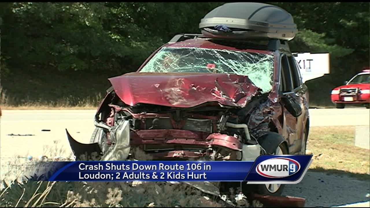Five people, including two children, are recovering from injuries after a serious crash Friday on Route 106 in Loudon.