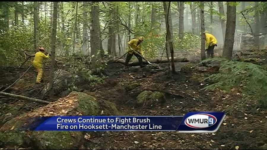 Fire crews were out battling a brush fire in Hooksett for most of the day Saturday after they had already been to the area the night before.