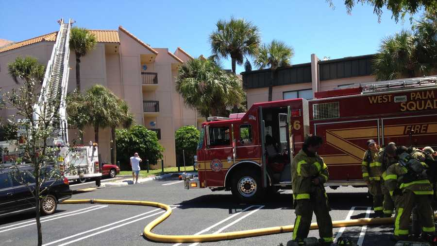 Firefighters battle a fire at the Presidential Gulfview Condominiums. (Cathleen O'Toole/WPBF)