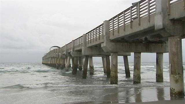 The Lake Worth Pier is closed in anticipation of the heavy waves that Tropical Storm Isaac will bring.