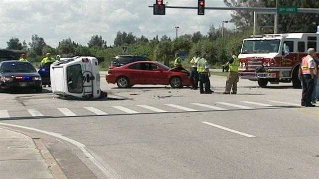 A 10-year-old girl was injured in this three-vehicle collision in St. Lucie County.