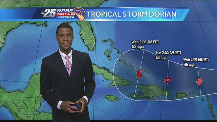 Tropical Storm Dorian inches westward, and is expected to reach the Caribbean islands by early next week.