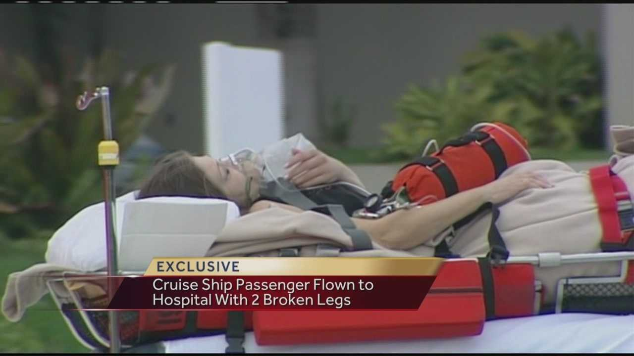 A woman who fell and broke both of her legs on a Carnival cruise ship was flown to St. Mary's Medical Center.
