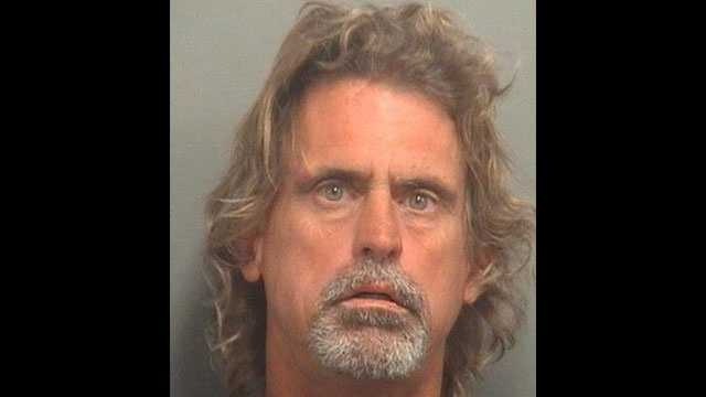 Jerry Leakey is accused of flashing customers and cursing at them outside a Citgo station in West Palm Beach.