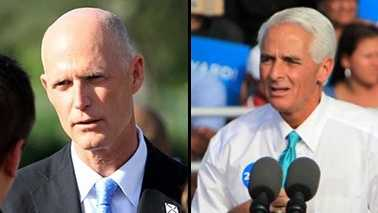 Gov. Rick Scott (left) trails Charlie Crist in the latest Quinnipiac poll released Thursday.