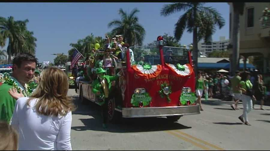 The Delray Beach St. Patrick's Day parade traditionally honors firefighters and brings in more than 100,000 spectators each year.
