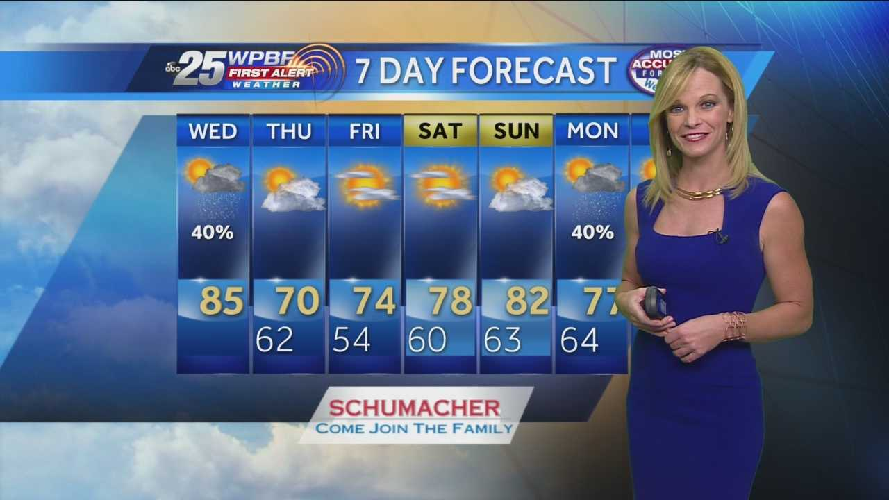 Sandra says wet weather is expected around South Florida on Wednesday, and cooler temperatures are likely once the front moves out.