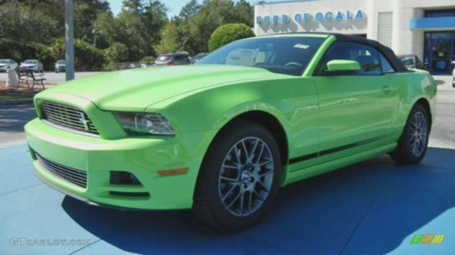 Delray Beach police are searching for a very distinctive, lime green Ford Mustang involved in a hit-and-run crash Tuesday morning on East Atlantic Avenue.