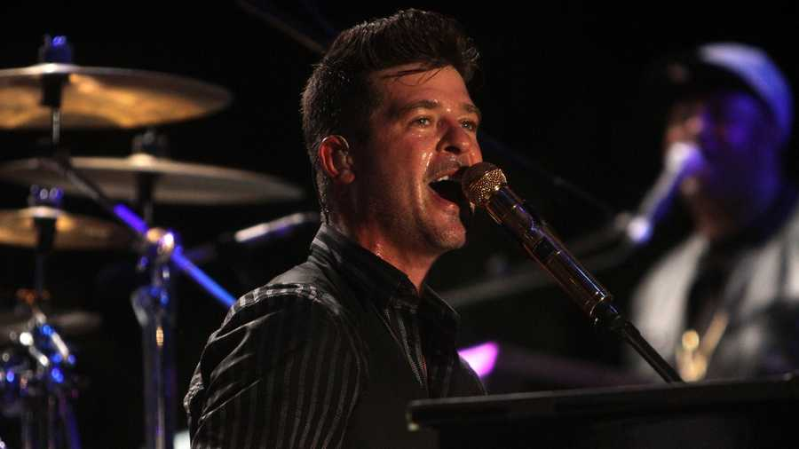 Robin Thicke got the crowd all riled up on the second night of Sunfest in downtown West Palm Beach on Thursday. Take a look at some photos of the popular singer. (All photos: John P. Wise/WPBF)