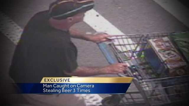 Surveillance video caught a man stealing a loaded shopping cart full of beer three separate times within 24 hours from a local Walmart store, according to Fort Pierce police.