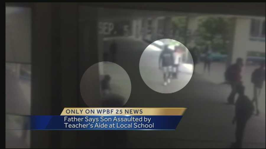 A Wellington High School employee was fired Tuesday, said a Palm Beach County school district spokesman, after allegations surfaced that the classroom aide shoved a student with autism against a wall earlier this month. The footage was recorded on the Wellington High School campus Sept. 5. Reporter Whitney Burbank has the story.