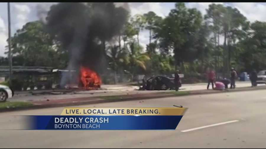 Three people were killed in a fiery crash in Boynton Beach Sunday. Palm Beach County Sheriff's Office deputies are investigating the crash, which occurred at 1:45 p.m. on Military Trail, two blocks south of Woolbright Road.