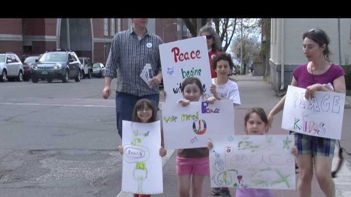 """Kids4Peace Vermont"" staged their third annual peace walk Sunday afternoon."