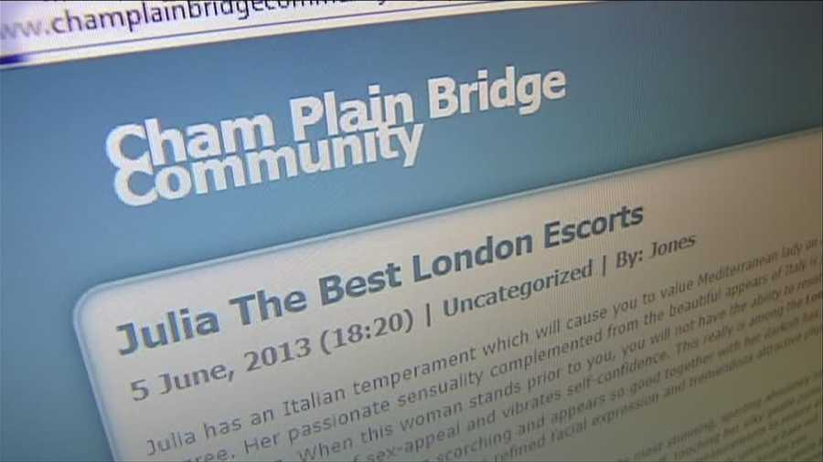 A website formerly dedicated to the Champlain Bridge is now an ad for an escort service.