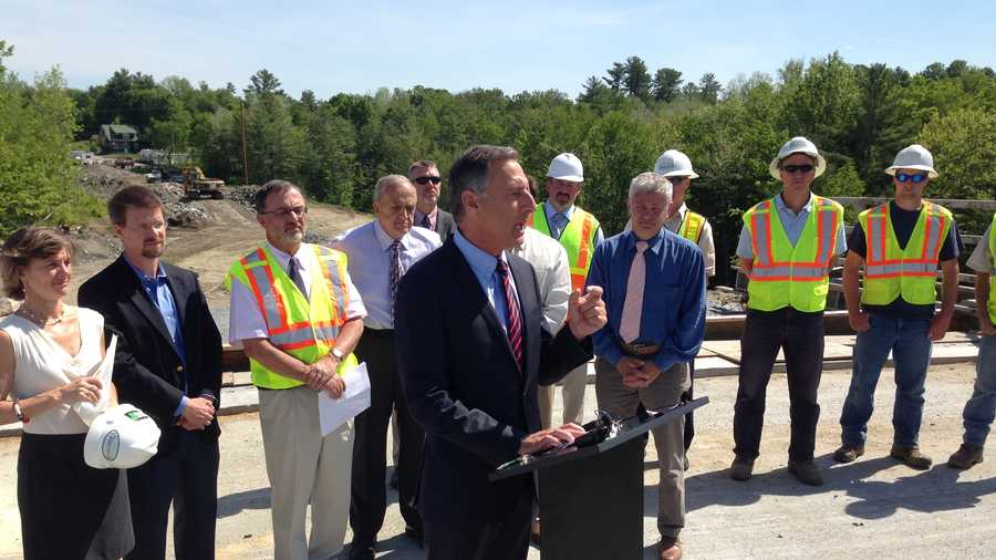 Governor Peter Shumlin signs the state's largest transportation bill at a bypass construction site in Morrisville, Vt.