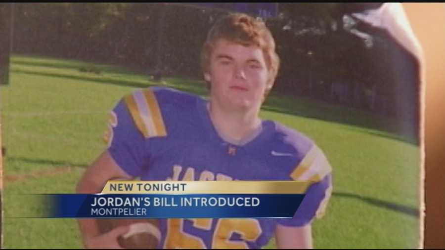 Jordan Preavy, a 17-year-old Milton football player, killed himself after being a victim of hazing and sexual assault. His family was in Montpelier Thursday to watch a bill in his honor be introduced into legislation.  The bill would toughen reporting requirements for school officials.