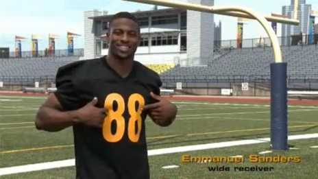"Emmanuel Sanders in a ""Don't Trash My Turf!"" anti-litter commercial. (From YouTube)"