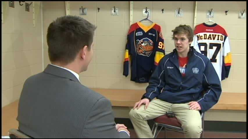 Channel 4 Action Sports' John Meyer interviews Connor McDavid