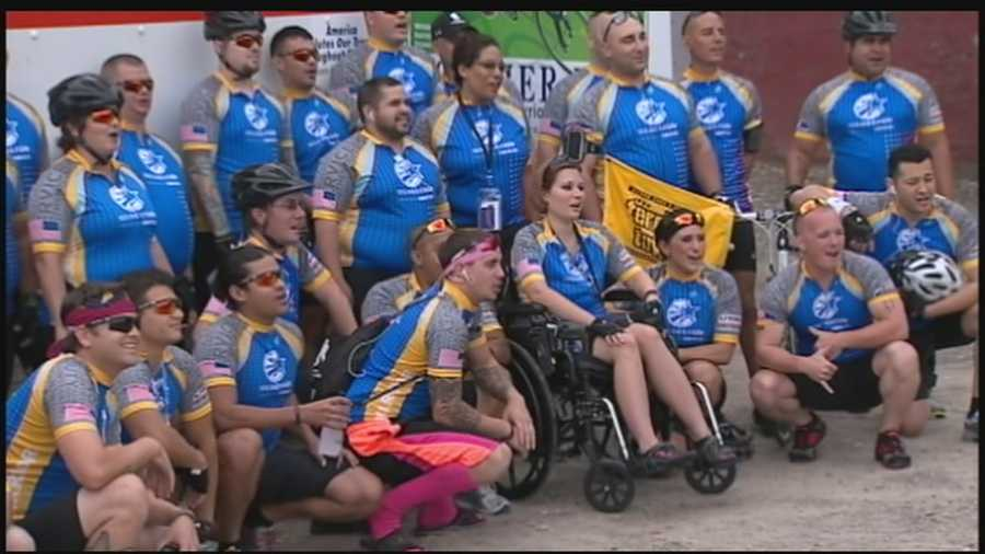 Action News' Sally Wiggin takes to the Wounded Warrior alumni gather at Station Square for a 12-mile adaptive cycling event