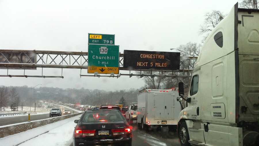 Cars are stuck in traffic on the Parkway East.