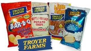 Troyer Farms potato chips, pretzels and popcorn