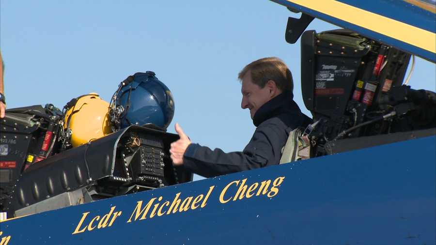 As the Rev. Joe McCaffrey from Saints John and Paul Parish was strapped into the mighty F/A-18 Hornet jet at Arnold Palmer Regional Airport in Latrobe, he offered a prayer of his own.