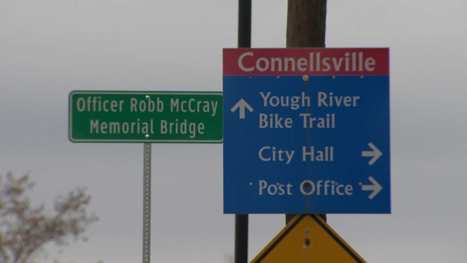 The West Crawford Avenue Bridge was renamed in honor of Officer McCray Robb, but the sign misidentifies him as Robb McCray.