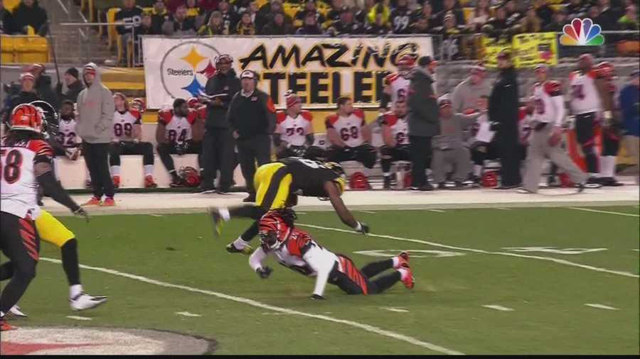 Le'Veon Bell was injured on this tackle by Reggie Nelson.