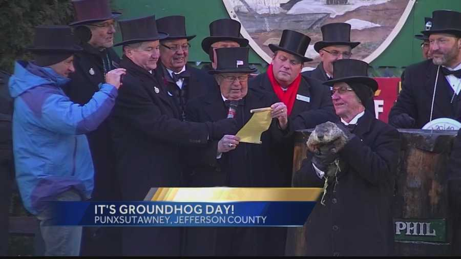 Pennsylvania's most famous groundhog, Punxsutawney Phil, makes his annual winter prediction.