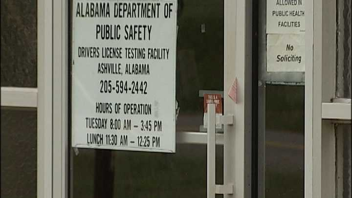 Drivers license testing facility in Ashville, Ala.