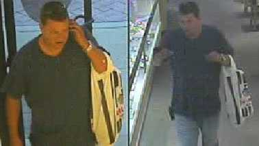 Surveillance images of jewelry store robbery suspect (Burlington PD)