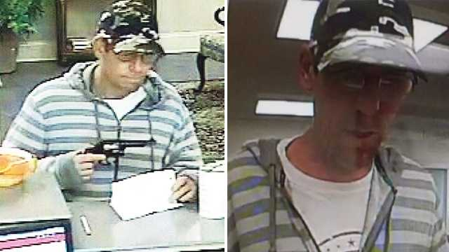 Police believe the same man robbed banks in Asheboro, left, and High Point, right, while armed with a gun.
