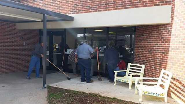 The deer went through a through a glass window around 11 a.m. at Ramseur Elementary School. No injuries were reported.