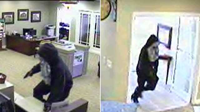 Surveillance images of armed robbery suspect at Bank of Oak Ridge