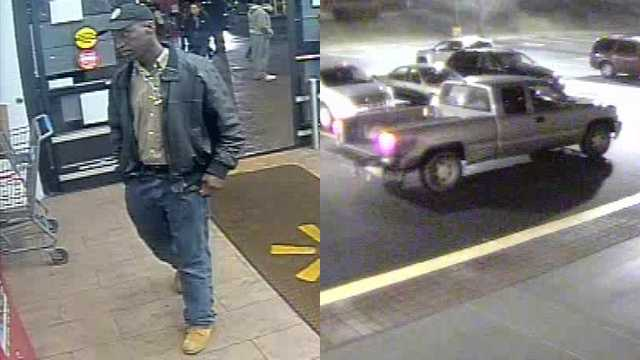 Surveillance images of suspect and vehicle in Salvation Army kettle theft at Winston-Salem Walmart
