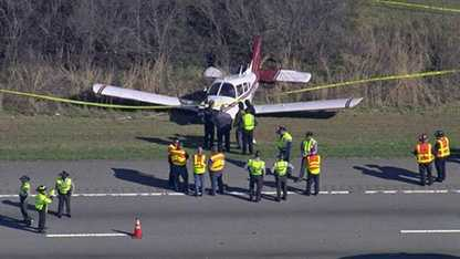 A small plane made an emergency landing on the shoulder of Interstate 540 in Raleigh.