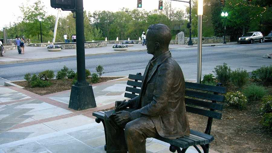 Charles Townes statue in downtown Greenville