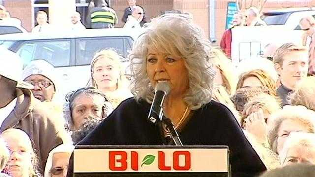 Paula Deen makes a stop in Greenville to promote Bi-Lo's Holiday Hunger relief program.