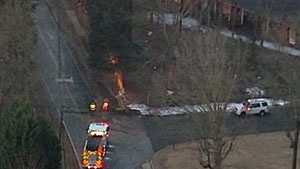 A water main break in Taylors closed Cunningham Road at Old Spartanburg Road early Friday morning.